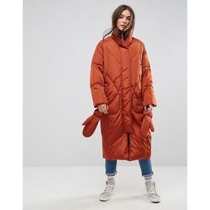 Burnt Orange Longline Puffer Coat